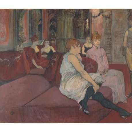 Salon de la Rue des Moulins 1894 by Henri de Toulouse-Lautrec-Art gallery oil painting reproductions