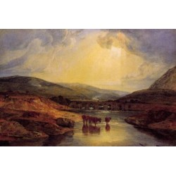 Abergavenny Bridge Monmountshire Clearing Up After A Showery Day by Joseph Mallord William Turner - oil paintings