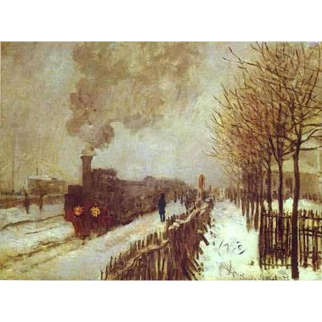 The Train in the Snow by Claude Oscar Monet - Art gallery oil painting reproductions