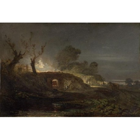 A Lime Kiln at Coalbrookdale 1797 by Joseph Mallord William Turner - Art gallery oil painting reproductions