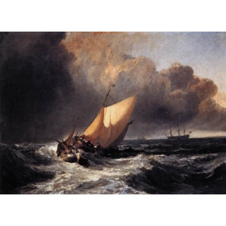 Dutch Boats in a Gale by Joseph Mallord William Turner - Art gallery oil painting reproductions