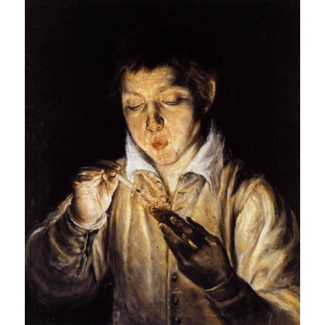 A Boy Blowing on an Ember to Light by El Greco-Art gallery oil painting reproductions