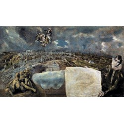 View and Plan of Toledo 1610 by El Greco-Art gallery oil painting reproductions