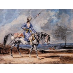 A Turkish Man on a Grey Horse by Eugène Delacroix-Art gallery oil painting reproductions