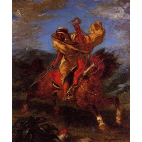 An Arab Horseman at the Gallop by Eugène Delacroix-Art gallery oil painting reproductions