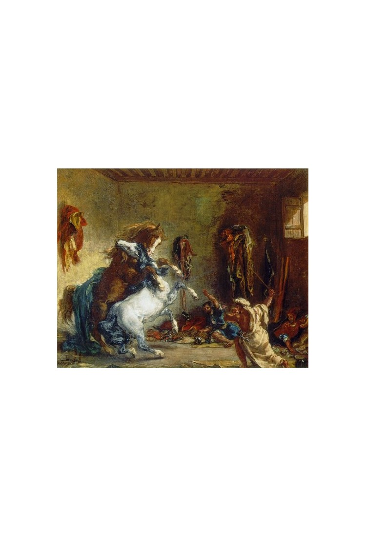 Excellent Oil painting Delacroix Arab Horses Fighting in a Stable art Eugene
