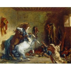 Arab Horses Fighting in a Stable by Eugène Delacroix-Art gallery oil painting reproductions