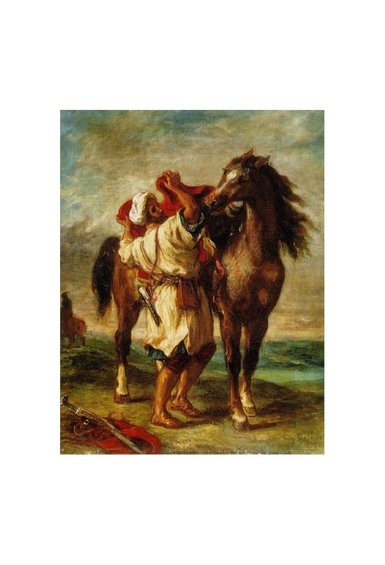 Arab Saddling His Horse By Eugene Delacroix Art Gallery Oil Painting Reproductions