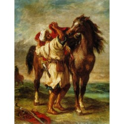 Arab Saddling his Horse by Eugène Delacroix-Art gallery oil painting reproductions