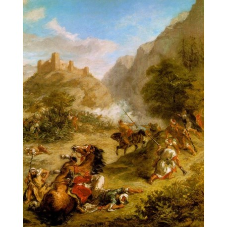 Arabs Skirmishing in the Mountains 1863 by Eugène Delacroix-Art gallery oil painting reproductions
