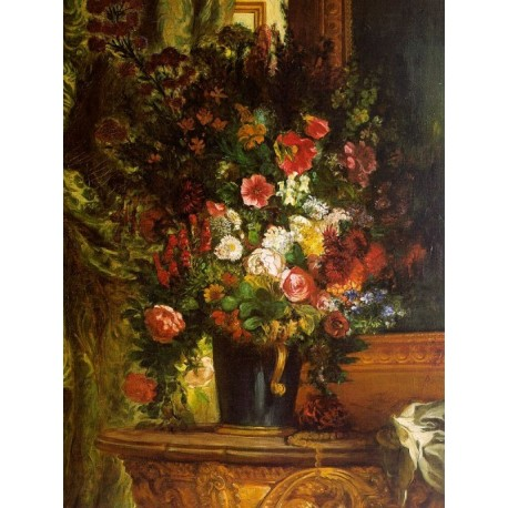 Bouquet of Flowers on a Console by Eugène Delacroix-Art gallery oil painting reproductions
