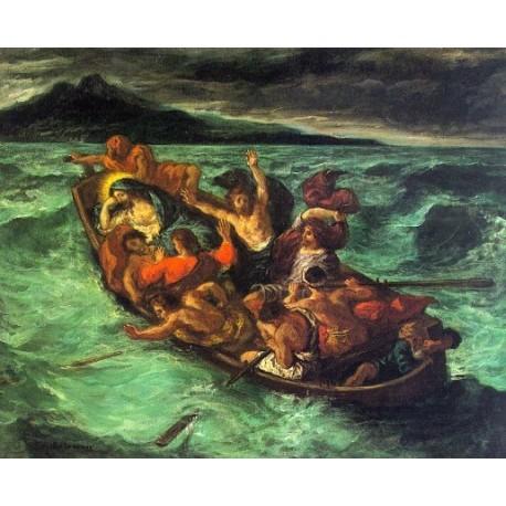 Christ on the Lake of Gennesaret by Eugène Delacroix-Art gallery oil painting reproductions