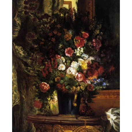 A Vase of Flowers on a Console by Eugene Delacroix-Art gallery oil painting reproductions
