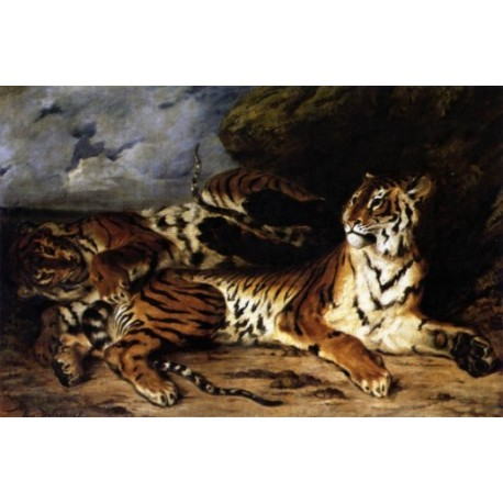 A Young Tiger Playing with its Mother by Eugene-Delacroix-Art gallery oil painting reproductions