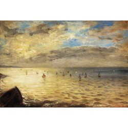 The Sea from the Heights of Dieppe by Eugene-Delacroix-Art gallery oil painting reproductions