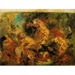 Lion Hunt 1861 by Eugène Delacroix-Art gallery oil painting reproductions