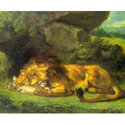 Lion with a Rabbit by Eugène Delacroix-Art gallery oil painting reproductions