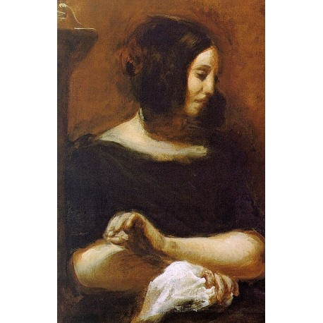 Portrait of George Sand by Eugène Delacroix-Art gallery oil painting reproductions