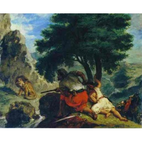 The Lion Hunt in Marocco 1854 by Eugène Delacroix-Art gallery oil painting reproductions