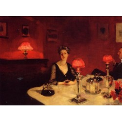A Dinner Table at Night 1884 by John Singer Sargent - Art gallery oil painting reproductions