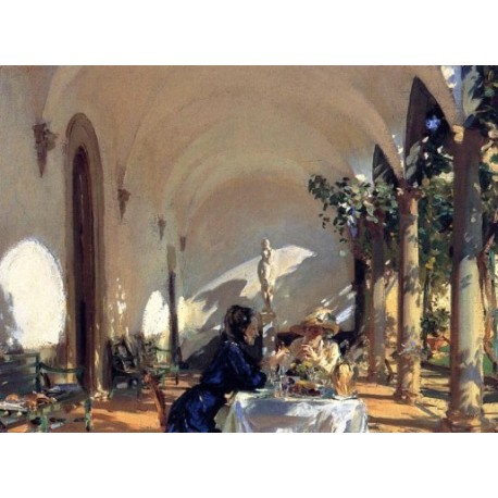 Breakfast in the Loggia 1910 by John Singer Sargent - Art gallery oil painting reproductions