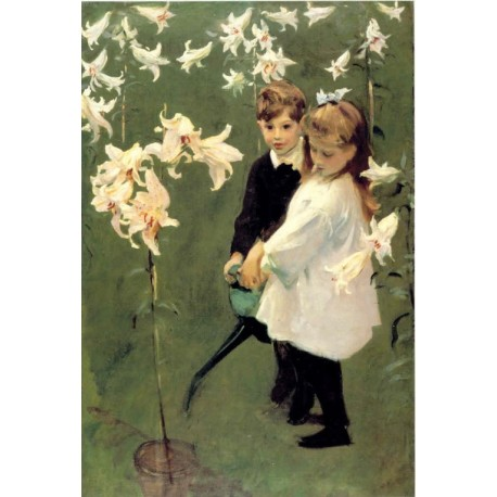 Garden Study Vickers Children 1884 by John Singer Sargent - Art gallery oil painting reproductions