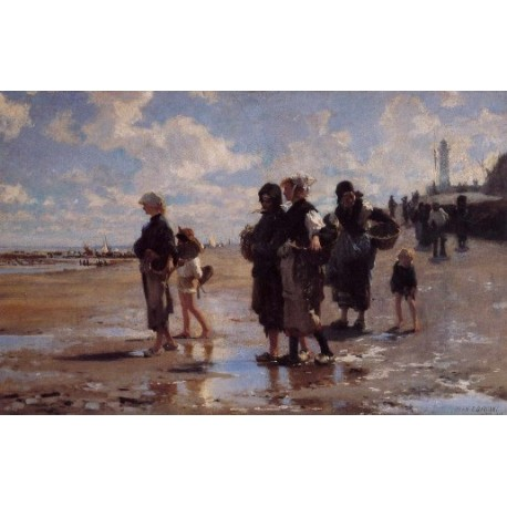 Oyster Gatherers of Cancale 1878 by John Singer Sargent - Art gallery oil painting reproductions