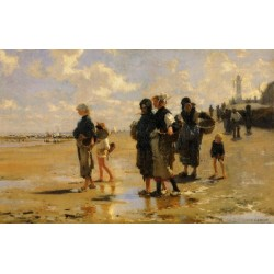 The Oyster Gatherers of Cancale 1878 by John Singer Sargent - Art gallery oil painting reproductions