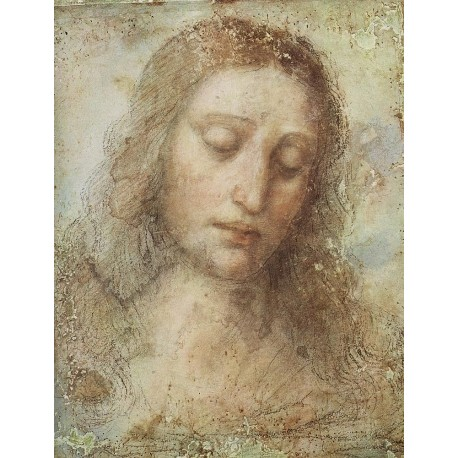 Head of Christ by  Leonardo Da Vinci - Art gallery oil painting reproductions