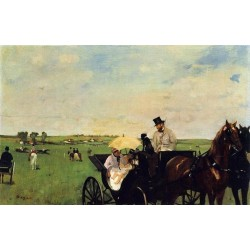 A Carriage at the Races by Edgar Degas-Art gallery oil painting reproductions