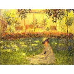 Woman Sitting in a Garden by Claude Oscar Monet - Art gallery oil painting reproductions