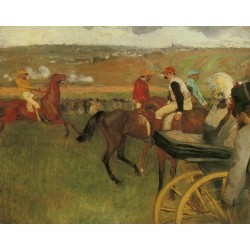At the Races - Gentlemen Jockeys by Edgar Degas- Art gallery oil painting reproductions