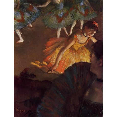 Ballerina and Lady with a Fan by Edgar Degas-Art gallery oil painting reproductions