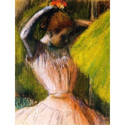 Ballet Corps Member Fixing Her Hair by Edgar Degas-Art gallery oil painting reproductions