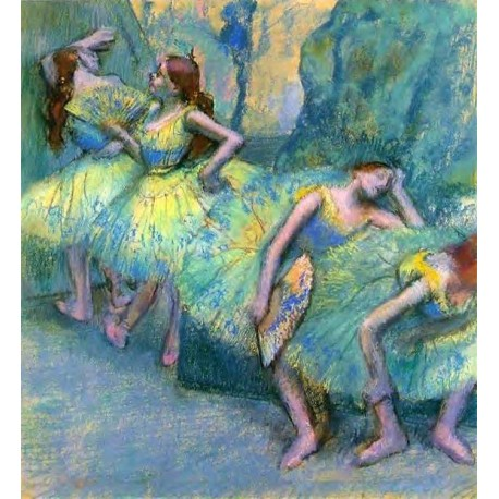 Ballet Dancers in the Wings by Edgar Degas- Art gallery oil painting reproductions