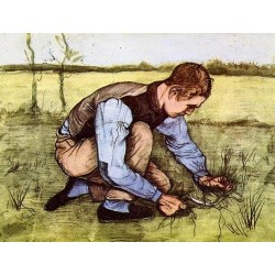 Boy Cutting Grass with a Sickle by Vincent Van Gogh - Art gallery oil painting reproductions