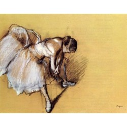Dancer Adjusting Her Slipper by Edgar Degas - Art gallery oil painting reproductions