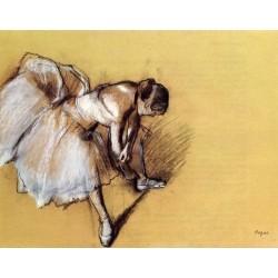 Dancer Adjusting Her Slipper by Edgar Degas - Art gallery oil painting reproductions