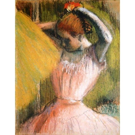 Dancer Arranging Her Hair by Edgar Degas - Art gallery oil painting reproductions
