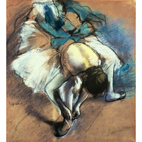 Dancer Fastening Her Pump by Edgar Degas - Art gallery oil painting reproductions