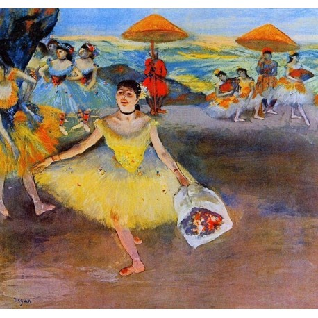 Dancer with Bouquet Curtseying by Edgar Degas - Art gallery oil painting reproductions