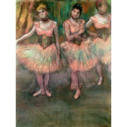 Dancers Wearing Salmon Coloured Skirts by Edgar Degas - Art gallery oil painting reproductions