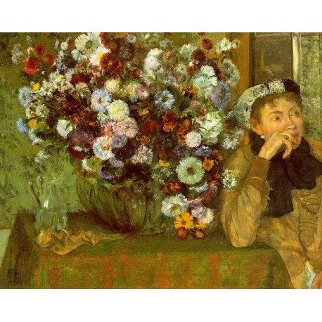 Madame Valpincon with Chrysanthemums by Edgar Degas - Art gallery oil painting reproductions