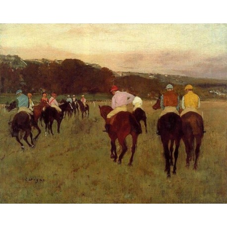 Racehorses at Longchamp by Edgar Degas - Art gallery oil painting reproductions