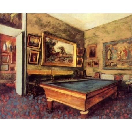 The Billiard Room at Menil Hubert by Edgar Degas - Art gallery oil painting reproductions