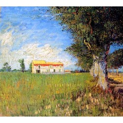 Farmhouse in a Wheat Field by Vincent Van Gogh -Art gallery oil painting reproductions