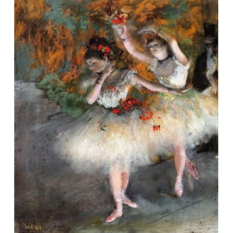 Two Dancers Entering the Stage by Edgar Degas - Art gallery oil painting reproductions