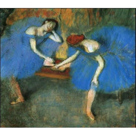 Two Dancers in Blue by Edgar Degas - Art gallery oil painting reproductions