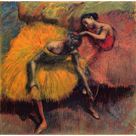 Two Dancers In Yellow And Pink By Edgar Degas Art Gallery Oil