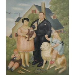 A Family By Fernando Botero- Art gallery oil painting reproductions